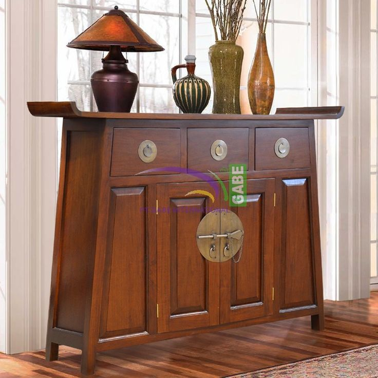 Product Code: ID17417 Product Description We called #buffet #console, #orientalstyle, made from #solidwood #mahogany, finishing with dark brown mahogany color, to show the impression of an antique. #Buffetconsole is equipped with 3 drawers on top and 2 doors on the bottom, while on the inside there is a rack in the middle position, to put the goods are stored and hidden want to be free of dust and dirt. Handle or accessory on the drawers and doors  material is made from brass, on top of the…
