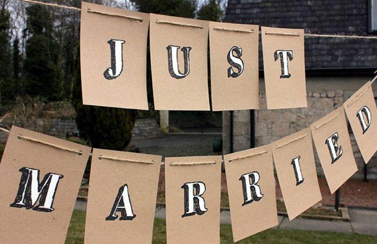 'Just Married' Handpainted Bunting