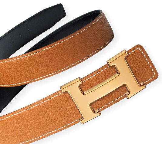 Hermès 32mm wide reversible belt strap in Black Boxcalf/Gold Togo calfskin & 5383 H polished gold plated belt buckle