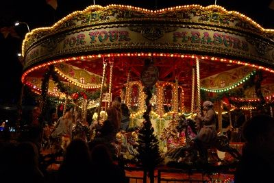 Traditional English carousel ride at London Southbank Centre