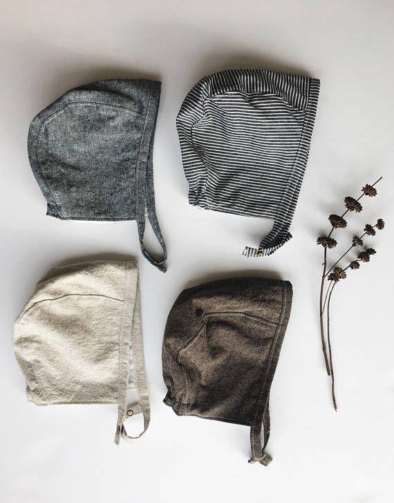 9027d863b Linen Baby Bonnet in Dark Brown, Neutral Baby Bonnet, Fall Baby ...