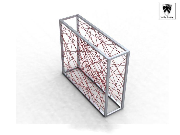 Box strutturale realizzato in alluminio finitura argento, al quale viene applicato il filo di vari colori con possibilità di creare un decoro, facilmente cambiabile e gestibile dalla commessa. Un gioco di linee da cui derivano ombre e luci, vedo e non vedo.