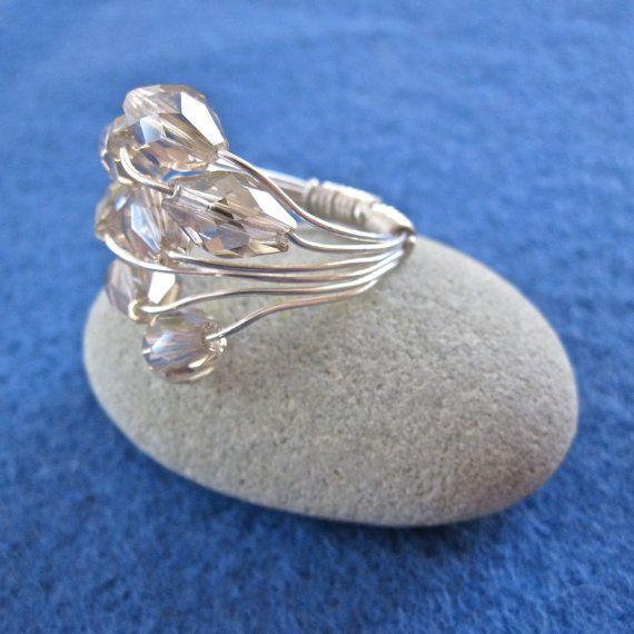 Plata y cristal anillo racimo - hecha a la medida