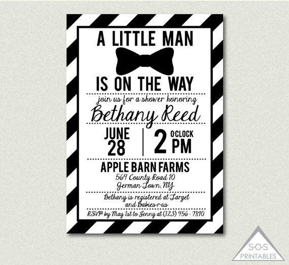 Little Man Baby Shower Invitation, Black and White Bowtie Baby Shower Invitation, Little Man Bow Tie, Printable PDF, Digital Invitation