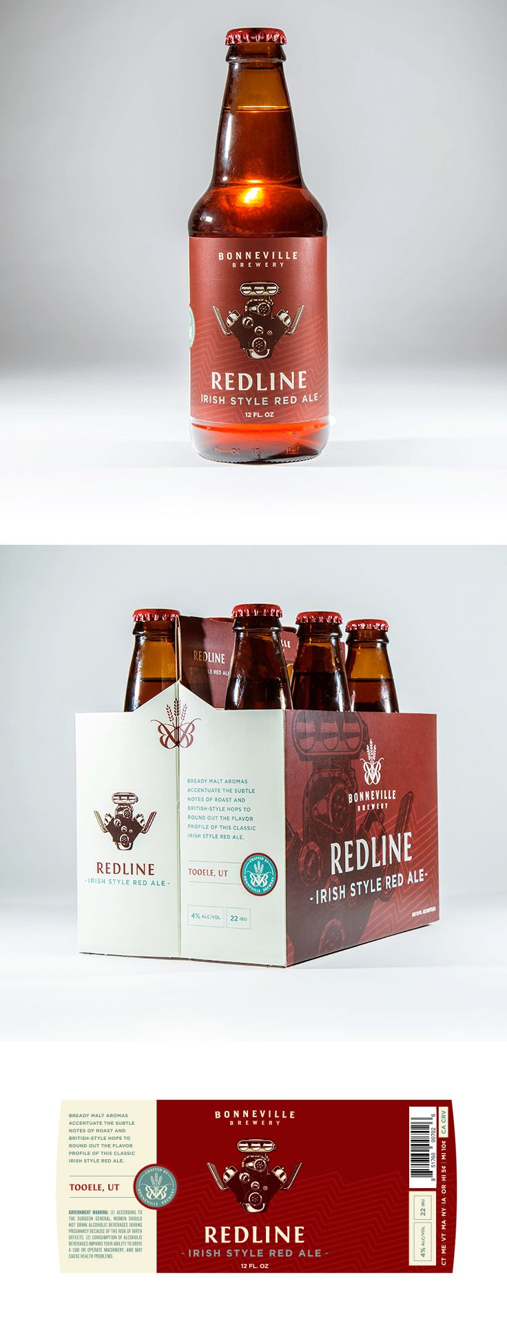 Redline Label and Box design by Epic Marketing for Bonneville Brewery. #packagingdesing #graphicdesing #labeldesign #beer #beerlabel