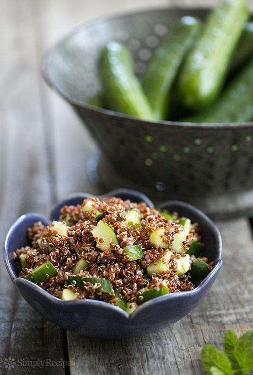Cucumber Mint Quinoa Salad ~ Quick easy quinoa salad with cucumbers and mint. Perfect for a summer picnic salad! ~ SimplyRecipes.com