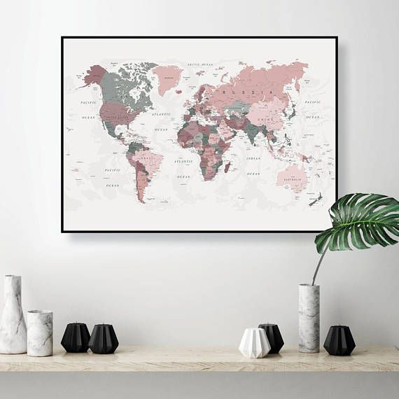 Printable World Map Art In Blush Pink And Hunter Green Map Of The World Large Downloadable Print Dorm Decor Poster Digital Map Download World Map Wall Art Map Wall Art Wall