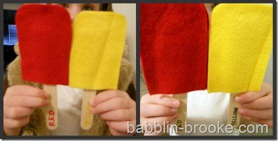 Popsicle Match: Bags Activities, Schools Ideas, Bags Quiet, Bags 12, Colors Felt, Colors Matching, Popsicles Colors, Bags Ideas, Matching Colors