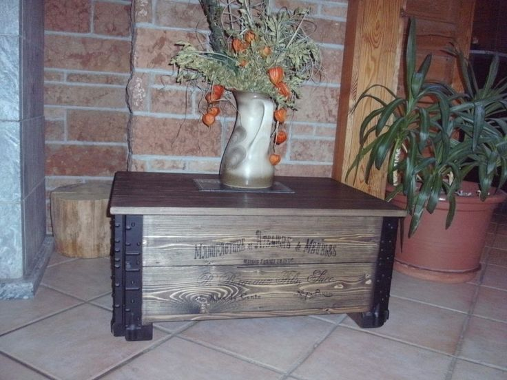 Shabby Alte Frachtkiste Couchtisch Holzkiste Truhe Tisch Vintage Whiskey Wohnen In Mbel Truhen Kisten