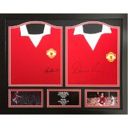 #All Star Signings Bobby Charlton and Denis Law Signed and Framed #Bobby Charlton, Denis Law and George Best are regarded as the United Trinity, which was one of the greatest football trios of all time. This legendary footballing trio helped United win two first division championships along with the much sought after European Cup. The two 1970™s replica Manchester United shirts are each signed by Sir Bobby Charlton and Denis Law. Displayed and framed in an attractive frame, the shirts are…