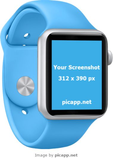 Frame your new iOS app in this attractive, blue Apple Watchphoto template. How? With Picapp.net, an online tool which allows you to choose what device frame you like and then to upload your screenshot. You don't need technical skills and the best part: you can download the final image in your PC for free!  #apple #nobackground #mockup #AppleWatch #smartwatch #picapp