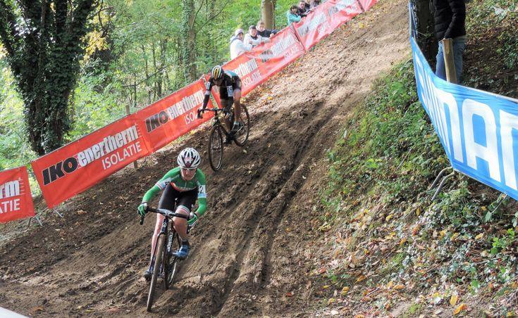 Eva Lechner and Nikki Harris tackle the ruts. © 2015 Cat Armour