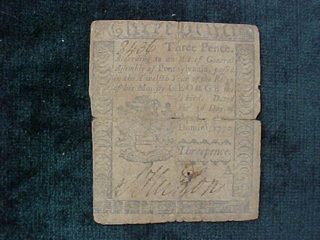 American Colonial Continental Currency, #1017 Three Pence Denomination #forextrading