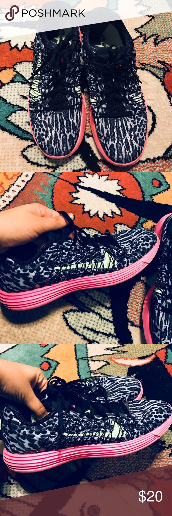 Leopard print nikes Black and gray nikes with mesh on the side, green symbol, and pink soles.  Good used condition, signs of wear pictured Nike Shoes Athletic Shoes
