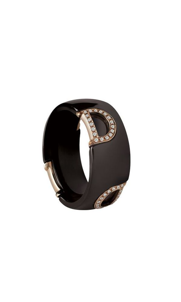 D.Icon brown ceramic and pink gold ring with diamonds