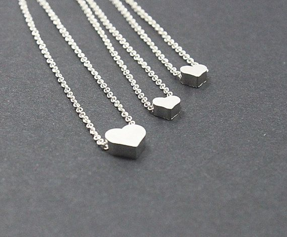 Mother Daughter Silver Heart Necklace Set 2 3 4 5 Sisters