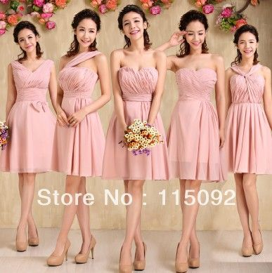 knee length modest country style chiffon bridesmaid bridesmaids brides maid dresses 2013 bridesmade formal bridemaid dress W876 $24.50 - 35.10