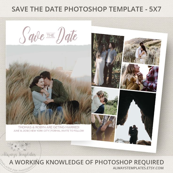 Modern save the date printable template on Etsy by Always Templates - #savethedate #template #photoshop #weddingplanning #weddinginvitations #engagementphoto #modern