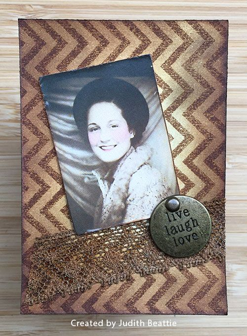 ATC by Judith Beattie using Darkroom Door Photobooth image and Chevron Background Stamp