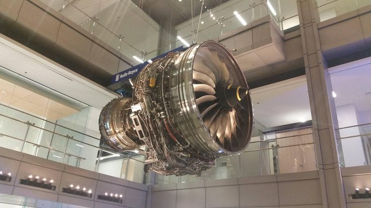 An engineering building at Virginia Tech has a Rolls Royce Trent 1000 turbofan hanging in the lobby.