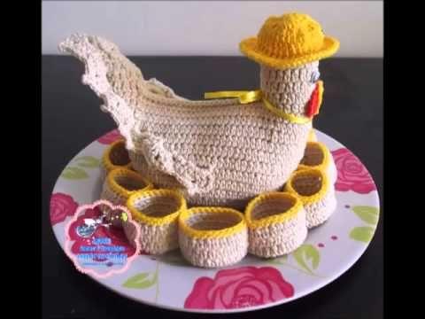 Vida com Arte | Galinha Porta Ovos em Crochê Endurecido por Carmen Freire - 08 de Outubro de 2014 - YouTube