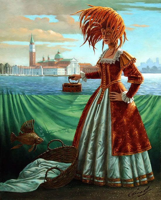 """Tidying a Tide, 20"""" x 16"""", oil on canvas by  Michael Cheval. Cheval's highly detailed and richly painted surrealist paintings illustrate complex fantasy worlds and comical impressions. To see more or order paintings go to www.huckleberryfineart.com or call 301-881-5977."""