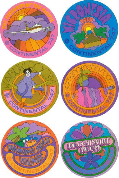 Continental Airline 747 psychedelic coasters 1970s