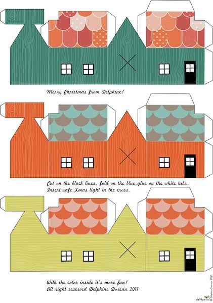 paper house printables - put on christmas lights