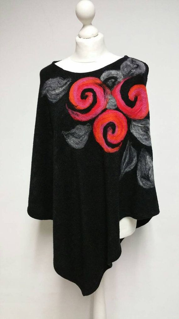 Warm Poncho Black Coat Wool Cape with Flowers, Jacket, Tunic, Needle Felted, Gift Idea, Art Fibre, Free Shipping!