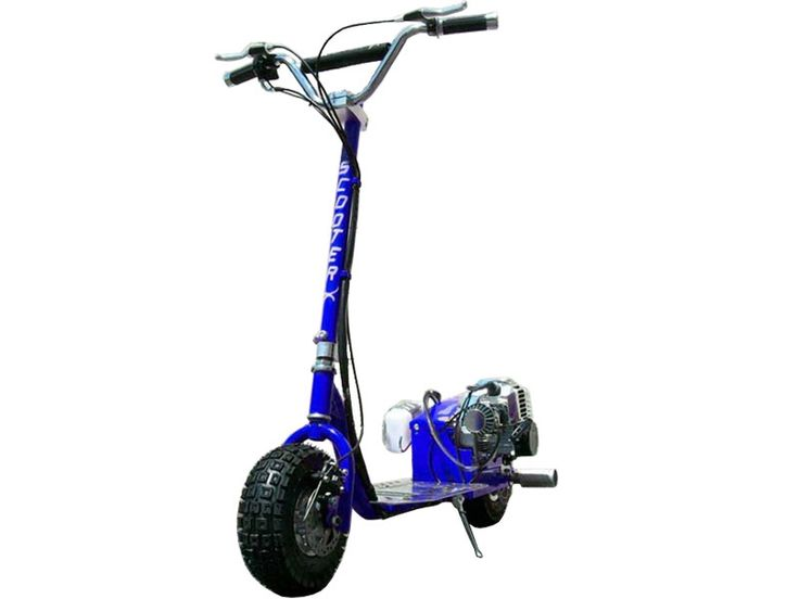 ScooterX Dirt Dog 49cc Blue Gas Scooter - Introducing the new 49cc ScooterX Dirt Dog stand up gas scooter. With top speeds of 30 mph and stunt pegs, this scooter does not disappoint. Not only do the pegs make wheelies a breeze, you can also haul your friends around. This scooter comes stock with a centrifugal clutch(automatic), pull start and chrome engine cover. This scooter is great for kids and adults.