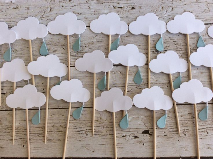 12 Cloud Baby Shower Cupcake Toppers- raindrop Cloud Cupcake Toppers - Food Picks by takiecrafts on Etsy https://www.etsy.com/listing/193455592/12-cloud-baby-shower-cupcake-toppers