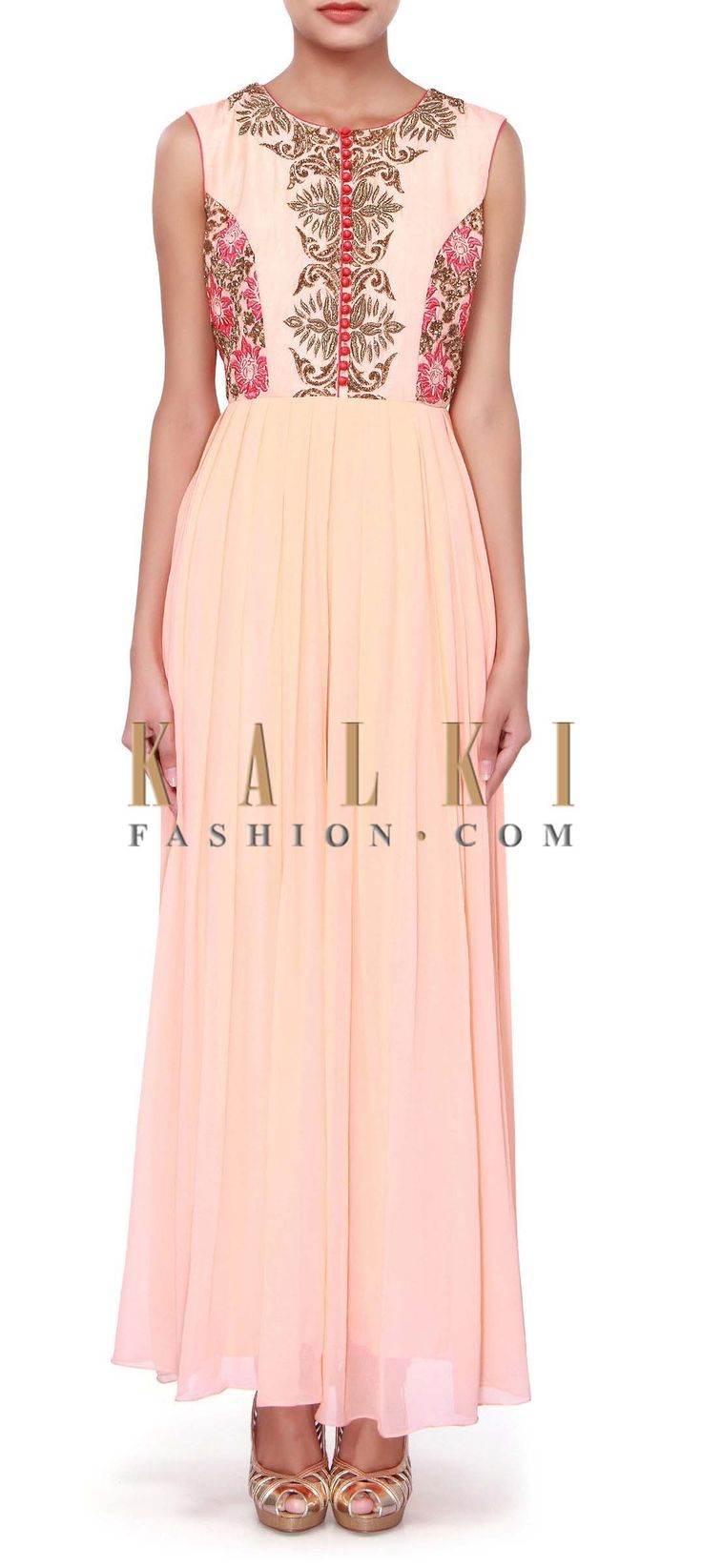 Buy Online from the link below. We ship worldwide (Free Shipping over US$100). Product SKU - 272238. Product Link - http://www.kalkifashion.com/peach-jumpsuit-adorn-in-resham-and-zardosi-embroidery-only-on-kalki.html