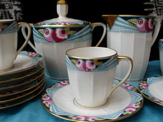 Limoges French art deco coffee set