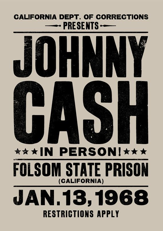 Affiches de concert de Johnny Cash imprimer art par TheIndoorType