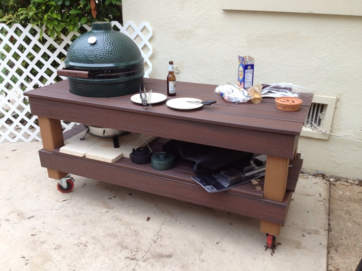 "My Custom Composite Wood Big Green Egg Table!!! I built this table because I couldn't find exactly what I was wanting in a standard store bought table by BGE or other aftermarket brands. Material cost about $675 and 6 hrs of labor. I estimate having this custom built by someone it would cost around $2000-2500 based on my research of other ""custom"" tables."
