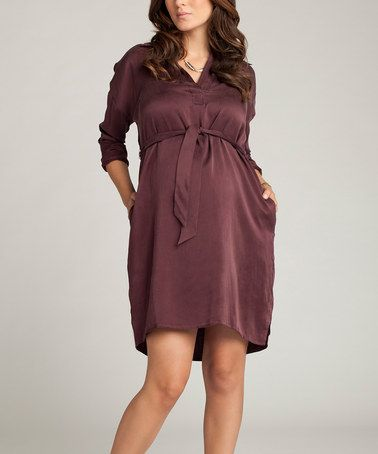 Take a look at this Bordeaux Silk Sash-Tie Maternity Shirt Dress by Ingrid & Isabel on #zulily today!