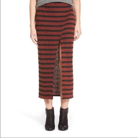 """Lily White Stripe Slit Midi Skirt Brand new never worn - this thigh high slit spices up a striped wrap-look midi skirt cut from stretch-knit jersey with a slinky, curve skimming silhouette. 35"""" length. Pull on style. 46% acrylic, 40% polyester, 11% nylon, 3% spandex. Machine wash cold. Priced to sell! Lily White Skirts Midi"""