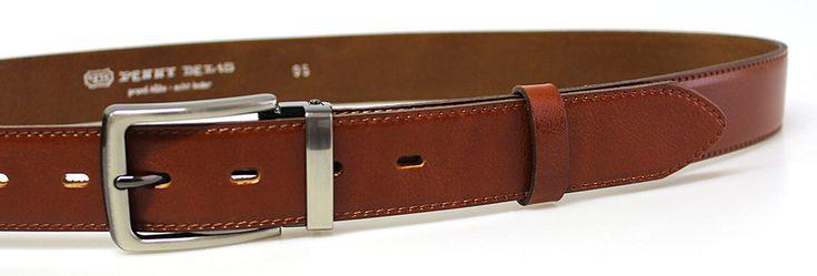 Pánsky kožený spoločenský opasok s tŕňovou sponou 35-020-2-43 hnedý