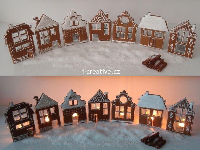 Perníková vesnička | i-creative.cz - omalovánky k vytisknutí a výtvarné nápady