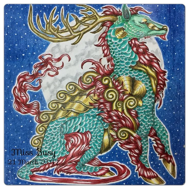 Crimson Fire Jade Qilin From Fantasia Coloring Book By Nick Filbert Insprired Dayanajey