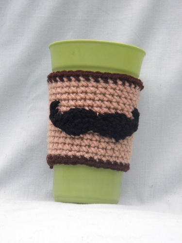 'Mustache Coffee Cup Cozy' is going up for auction at  5pm Thu, Nov 1 with a starting bid of $3.
