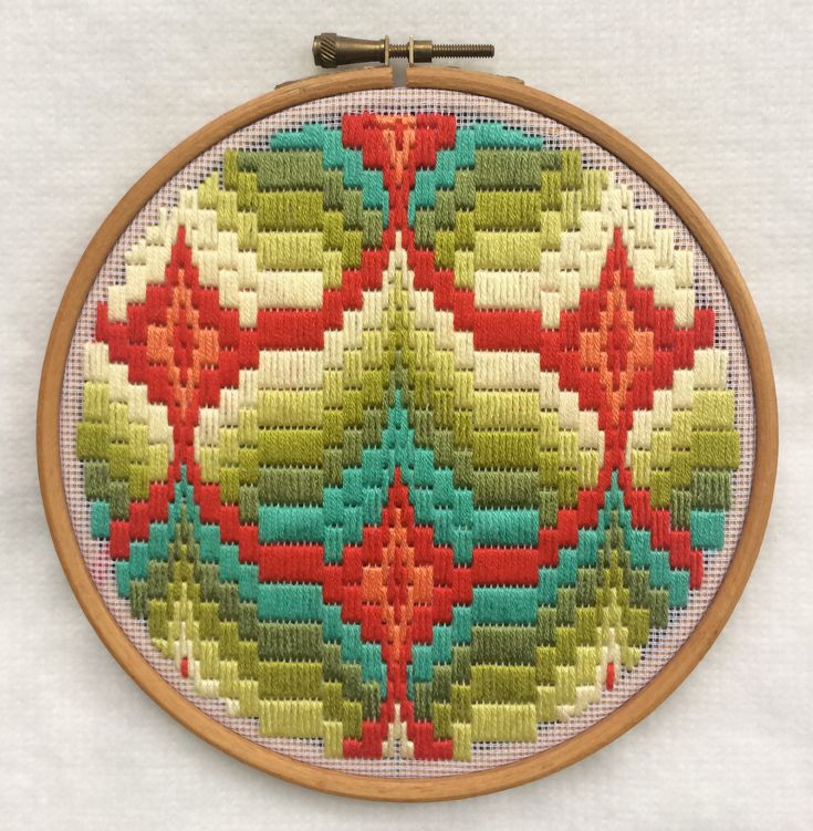 Bargello - DMC Threads on tapestry mesh mounted in embroidery hoop.