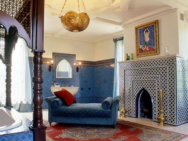Moroccan Room Designed for Lounging and Bathing