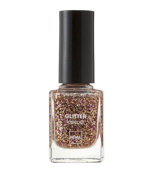 nagellak topcoat glitter - HEMA // goud met roze glitter topcoat