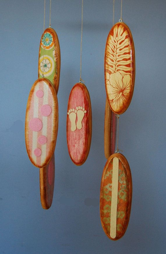 Baby Mobile Surfboards - Baby Girl - Pink and Orange Designer Prints - Surf Baby Nursery