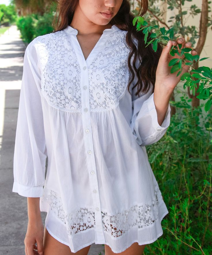 White Lace Button-Up Tunic Top - so cute with shorts or leggings!