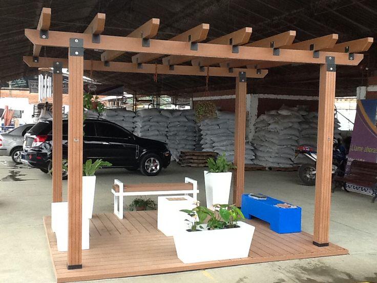 pergolas en madera plastica wpc wood plastic composite made in colombia cali tecmaplast sas