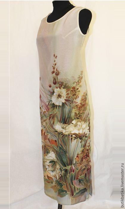 Купить Шелковое платье батик Полевой букет - разноцветный, цветы, полевой, полевые цветы