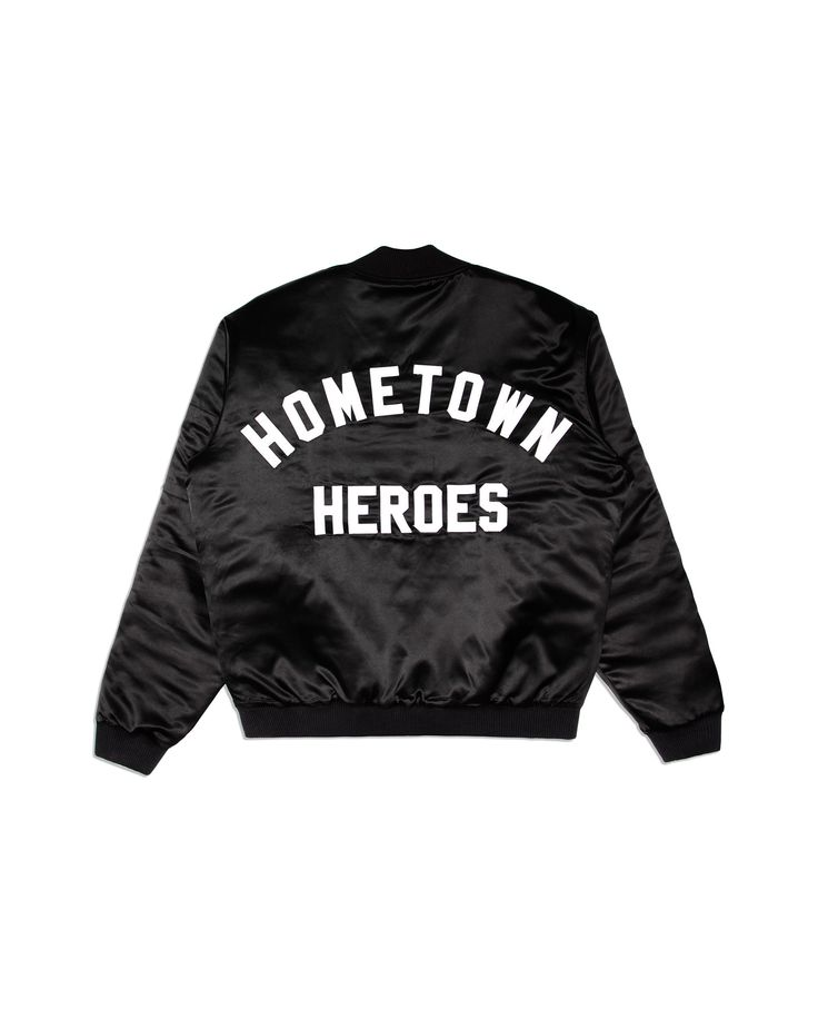 "Atelier New Regime Hometown Heroes satin bomber jacket in black, with white ""Hometown Heroes"" slogan embroidery at back. #ateliernewregime #newregime #FW16"