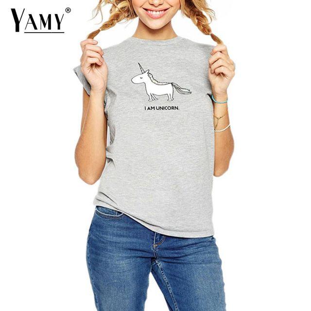 Каваи милый Единорог отпечатано лето майка женщины топы короткие рукава о-образным вырезом серая футболка мультфильм clothing для женщин тис плюс размер